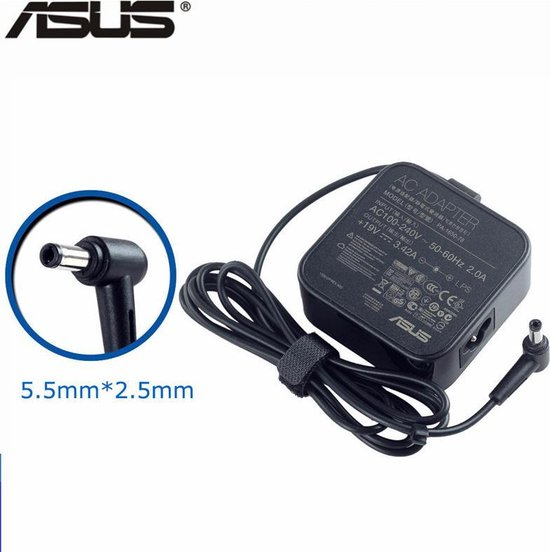 ADAPTER 19V / 3,42A / 65W - 5,5mm x 2,5mm voor o.a. Acer, ASUS, Compaq, Dell, HP, Lenovo, Packard Bell en Toshiba