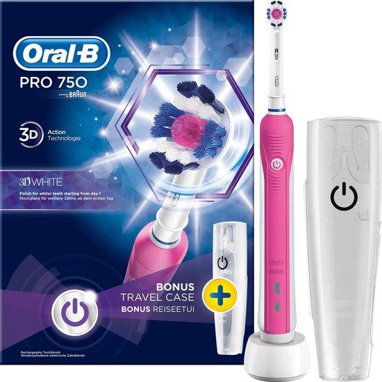 Oral-B PRO 750 - 3DWhite - Elektrische Tandenborstel - Inclusief Reisetui