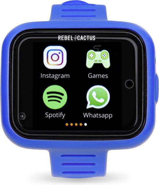 Rebel Cactus Play Bright Blue - Kids Smartwatch - Belhorloge & GPS tracker - FindMyKids app - Spatwaterdicht - Spotify - Games - Stappenteller