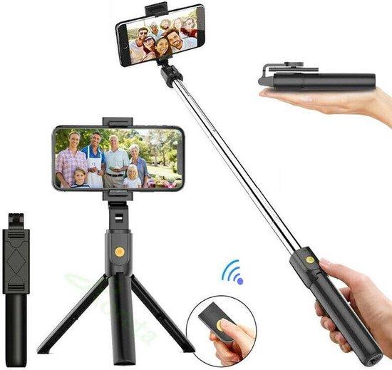 3-In-1 Universele Selfiestick Met Opvouwbare Tripod - 360° Draaibaar - Met Bluetooth Afstandsbediening