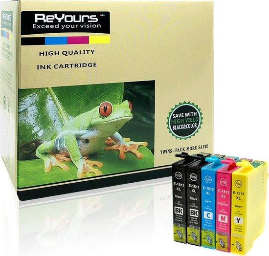 ReYours 18XL T1811 /2 /3/4 - Multipack zwart en kleur - compatible voor Epson T1816