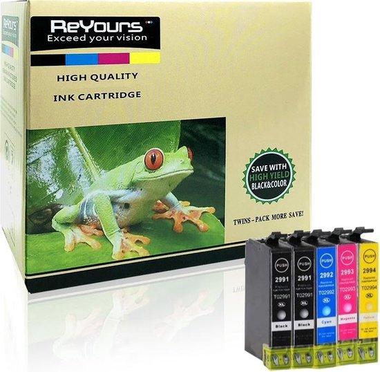 ReYours®Epson T2991 - T2994 Compatible inktcartridge / Alternatief voor de Epson 29XL T2991 T2992 T2993 T2994 Expression Home XP-235 XP-245 XP-247 XP-332 XP-335 XP-342 XP-345 XP-432 XP-435 XP-442 XP-445- 5 pack