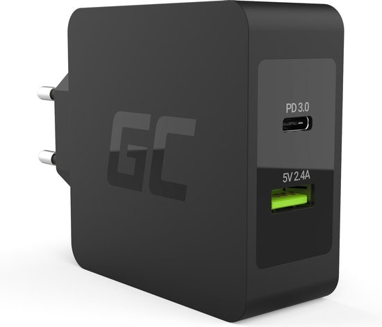 Green Cell Charger USB-C 45W PD with cable USB-C and extra USB port