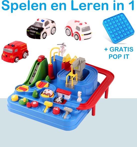 PLAY IT Speelgoed Auto Racebaan Speelgoed Auto GRATIS POP IT Fidget Toys - Educatief Auto Speelgoed met Accessoires - Poilitie - Brandweer
