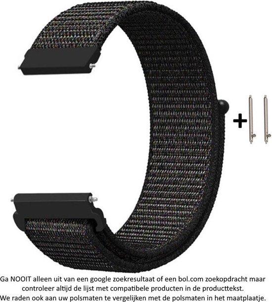 22mm Zwart Nylon Horloge Bandje met subtiele rode weave voor (zie compatibele modellen) Samsung, LG, Asus, Pebble, Huawei, Cookoo, Vostok en Vector - klittenbandsluiting – Black Nylon Strap - Gear S3 - Zenwatch - 22 mm