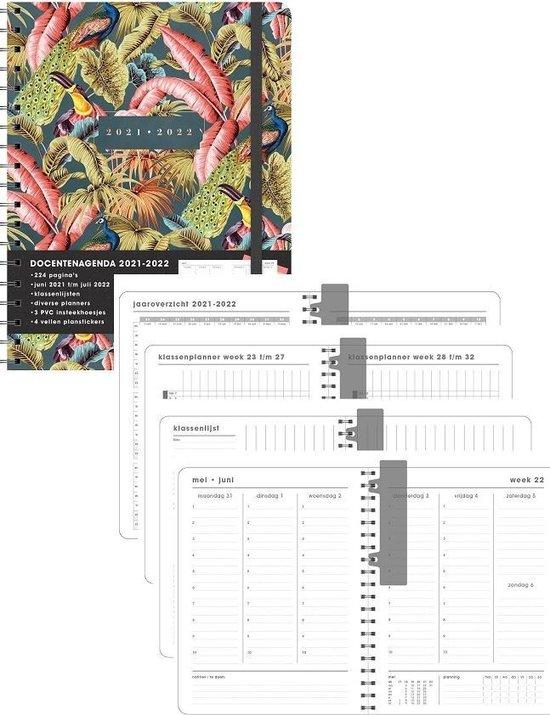 Hobbit schoolagenda 2021-2022 - DOCENTENAGENDA D2 - lerarenagenda - ringband - elastieken band - 7 dagen over 2 pagina's - harde kaft - 224 pagina's - roze bladeren - ongeveer A4 formaat