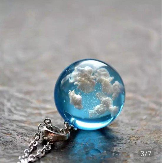 Wolken Ketting - Lucht- Heaven - Blue Sky - Hemel - Gedenkketting -Glas -Bol -ParaTotaal