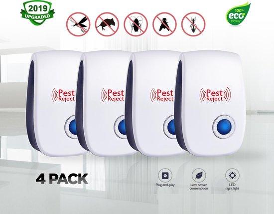 4x Pest Reject PRO - Muizen verjager – Ongedierte verjager - Ongediertebestrijding – Mieren verjager- Kakkerlak verjager- Vliegen verjager-Mosquito verjager- Ultrasone Insectenbestrijding
