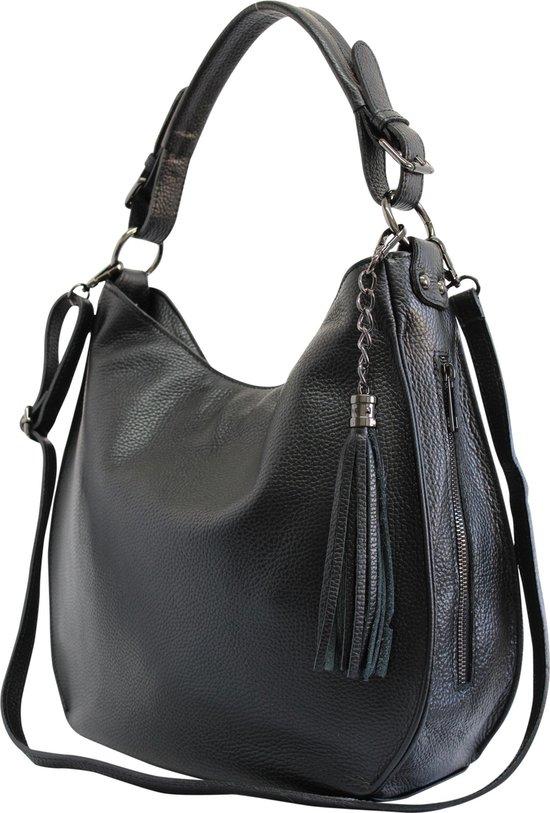 AmbraModa Italiaanse dames handtas, schoudertas, hobotas van echt leer GL027 Zwart