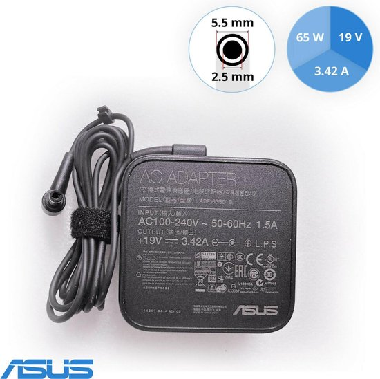 asus 65w 3.42a 19v ADP-65GD B rechtsboven 1.5A in hoek adapter voeding oplader 5.5mm pin