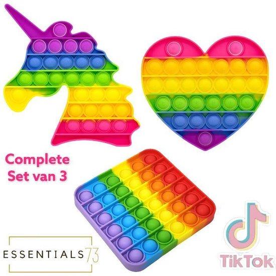 ESSENTIALS73 Pop it Fidget Set van 3: Regenboog set - Rainbow set - Unicorn + Hart + Vierkant - Tiktok