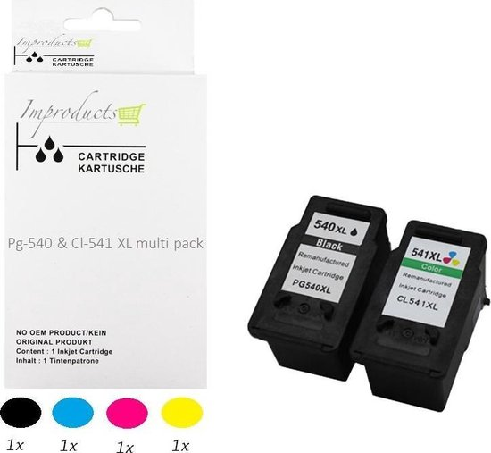 Improducts® Inkt cartridges - Alternatief Canon Pg-540 XL zwart CL-541 XL kleur set