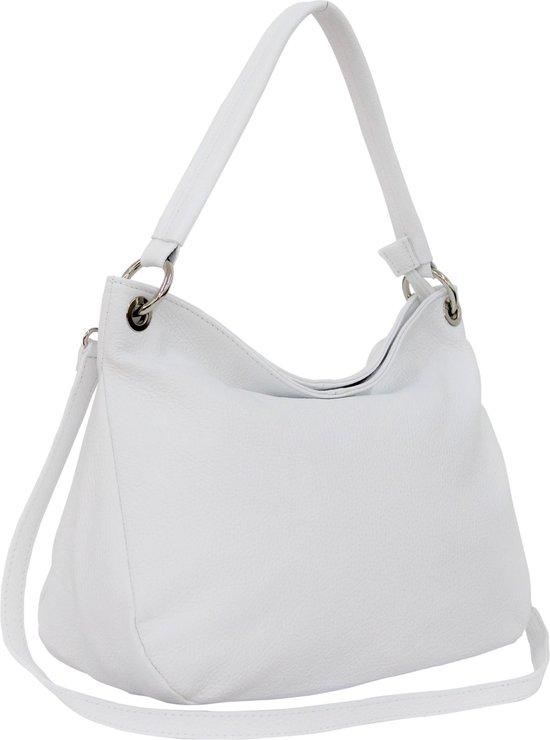Italiaans dames handtas, schoudertas van echt leer GL002 Wit