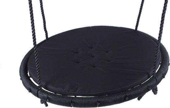 Nestschommel Zwart Ø100 cm met zwart Kussen en PP touwen