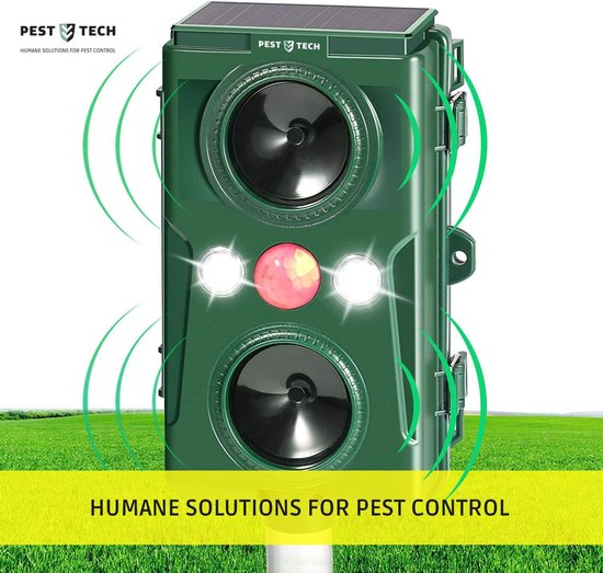 Pest-Tech™ | Supersonisch Flash Kattenverjager |met Smart-Modus | Groter Bereik | Betere Frequenties |Kattenschrik | Werkt op zonne-energie m/ oplaadkabel