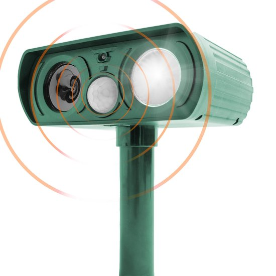 Ultrasone Kattenverjager op Zonneenergie - Kattenschrik - Marterverjager - Vogelverjager - Kattenverjager Voor de Tuin - Ongedierte Verjager met Ultrasone - Katten Afweermiddel - Met LED Verlichting