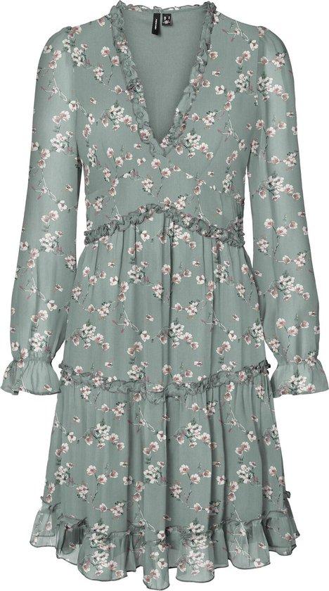 Vero Moda Dames WONDA 7/8 FRILL SHORT DRESS Jadeite Jurk - Maat XL
