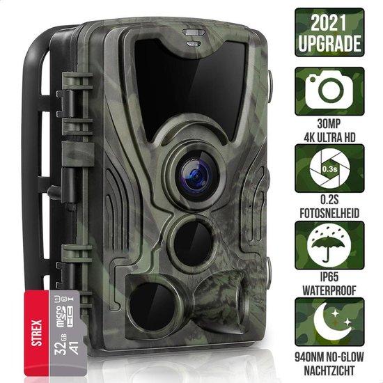 Wildcamera met Nachtzicht - 30MP 4K ULTRA HD - Waterdicht - Incl. 32 GB SD - Wild Camera